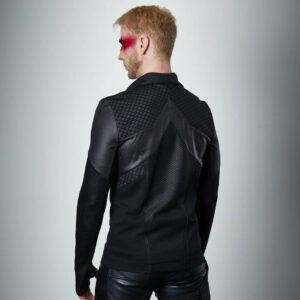 Men's Cyberpunk Hexagonal Honeycomb Leather Jacket