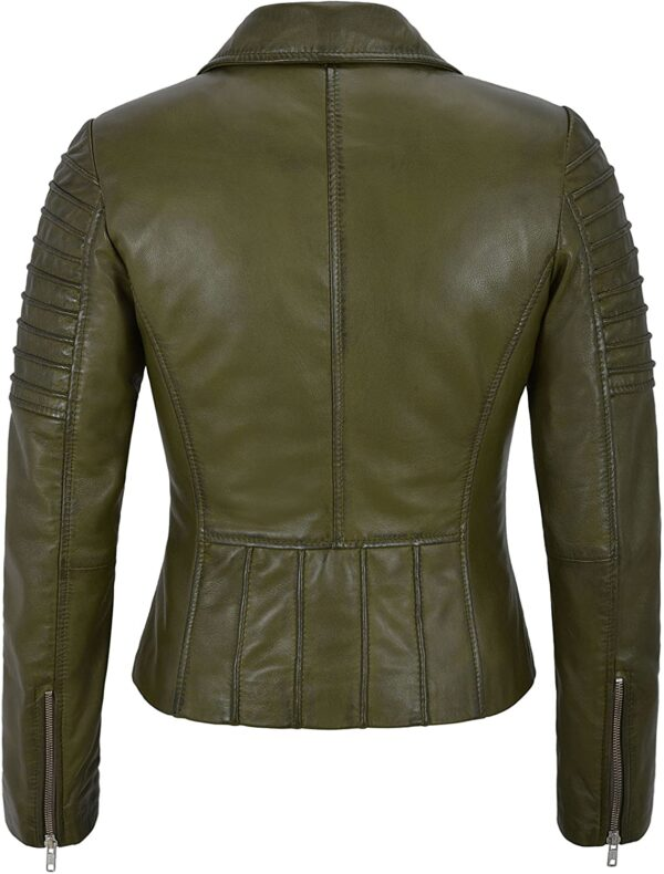 Olive Green Women's Stylish Biker Leather Jacket
