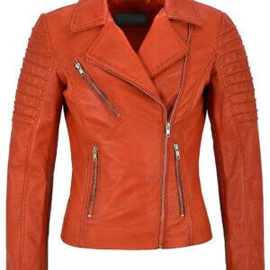 Orange Women's Stylish Biker Leather Jacket