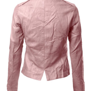Pale Pink Biker Cropped Leather Jacket