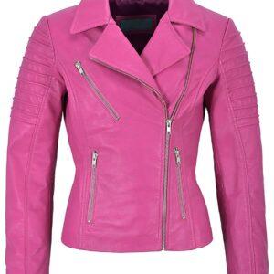 Pink Women's Stylish Biker Leather Jacket
