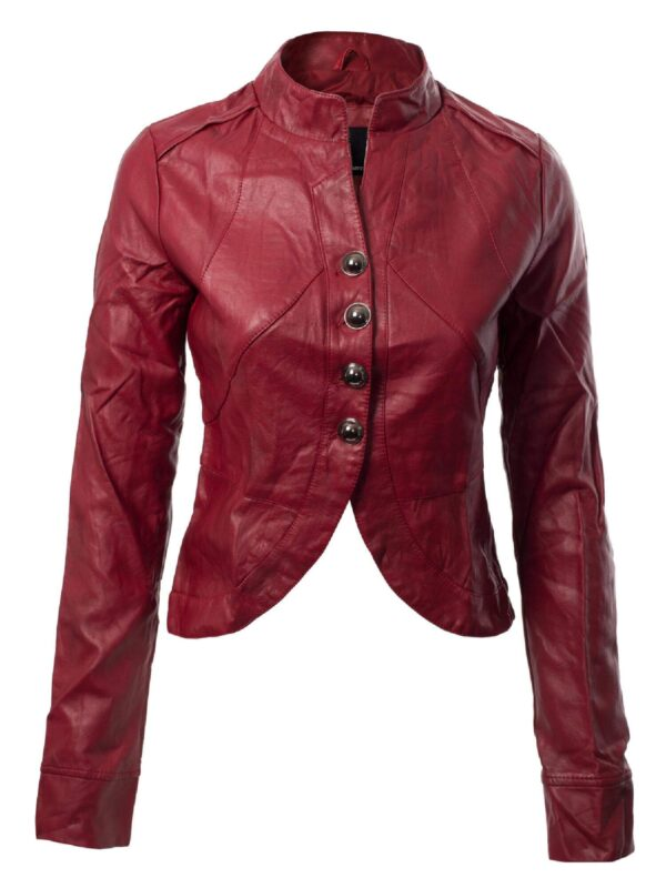 Red Biker Cropped Leather Jacket