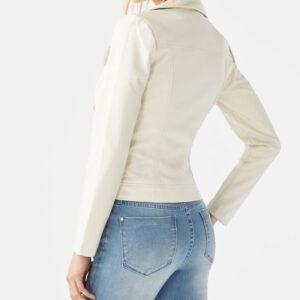 Studded White Moto Leather Jacket