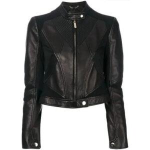 Women's Black Cropped Zippered Leather Jacket