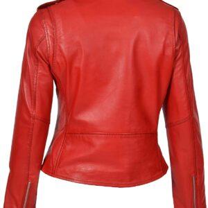 Women's Red Cropped Biker Leather Jacket