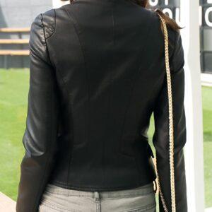 Women's Stylish Black Oblique Biker Jacket
