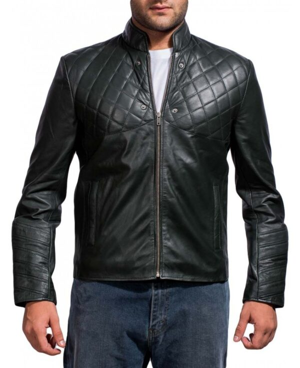 David Beckham Black Quilted Leather Jacket
