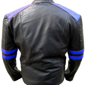 mens-classic-biker-blue-and-black-leather-jacket