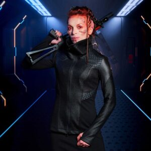 Cyberpunk Hexagonal Honeycomb Leather Jacket
