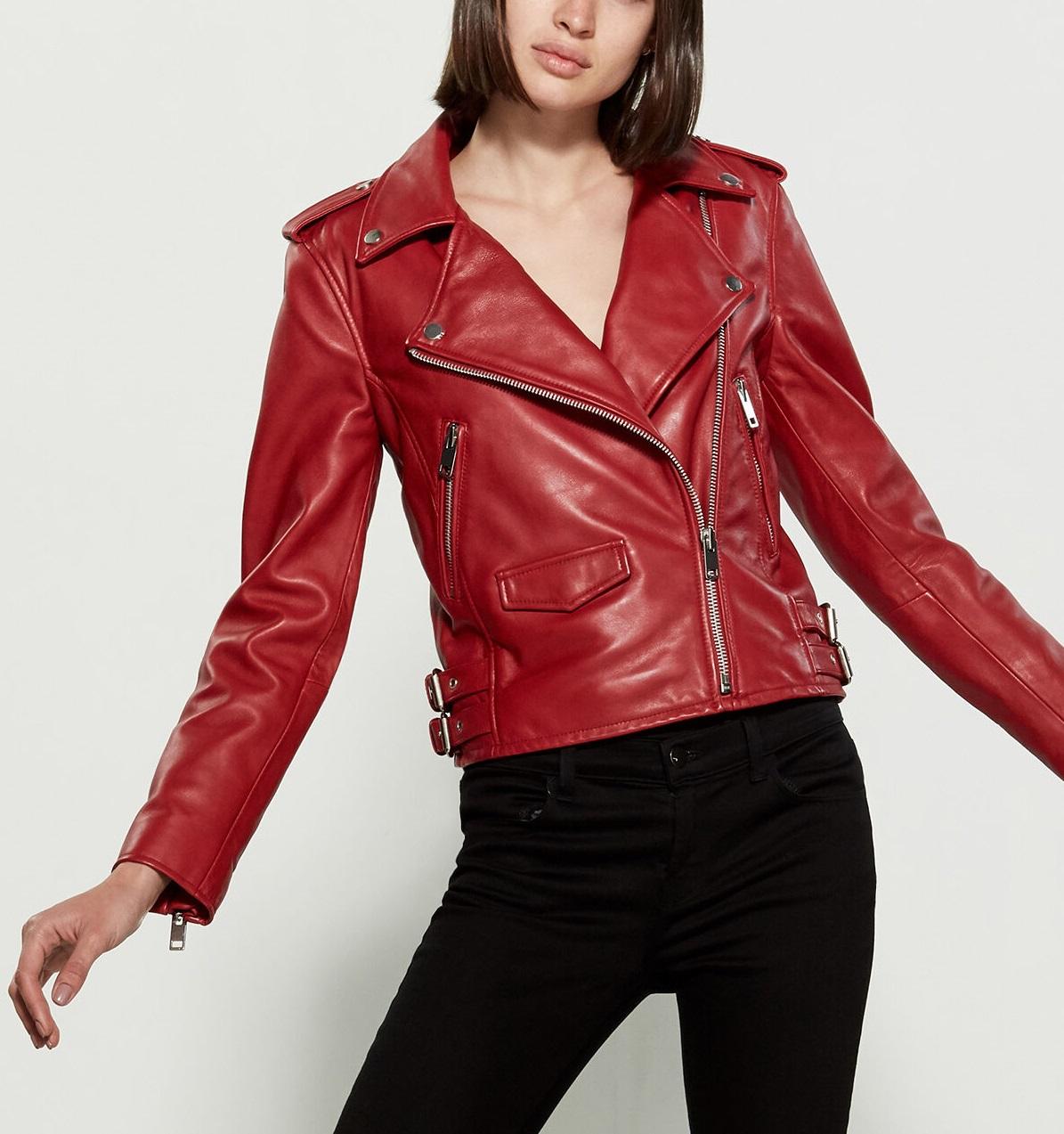 c5049ee0 Women's Dark Red Leather Moto Jacket