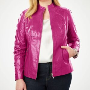 Women's Hot Pink Lace Up Leather Jacket