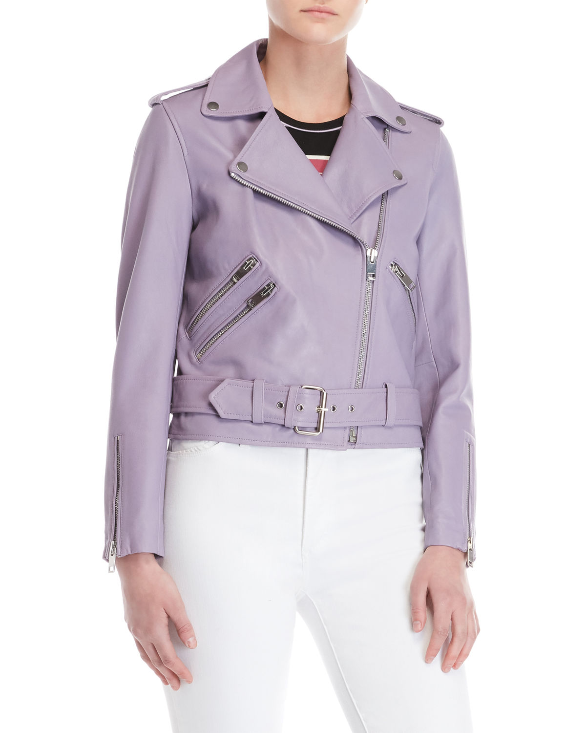 top-rated latest wide range official price Women's Purple Leather Moto Jacket
