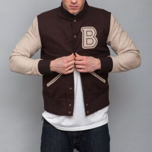 Payday 2 Hotline Miami Bomber Brown Varsity Jacket