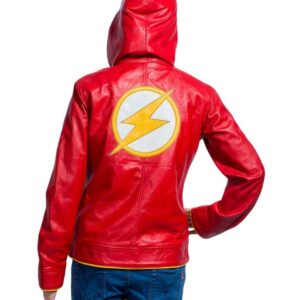 Flash Red Hooded Leather Jacket