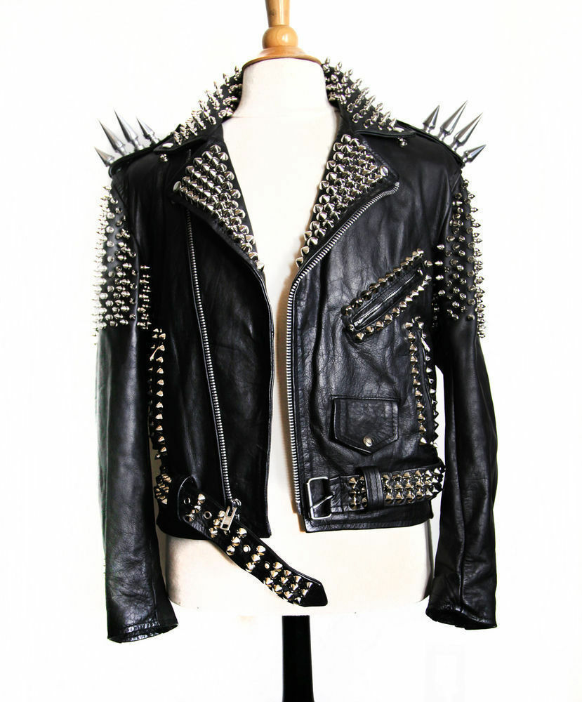 Brood X. Bach's Equipment WOMEN-BLACK-COLOUR-SILVER-SPIKED-STUDDED-LEATHER-JACKET