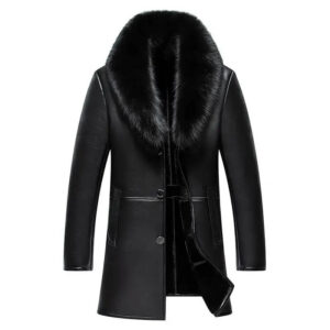 Men Winter Leather Coat Big Fur Collar Jacket