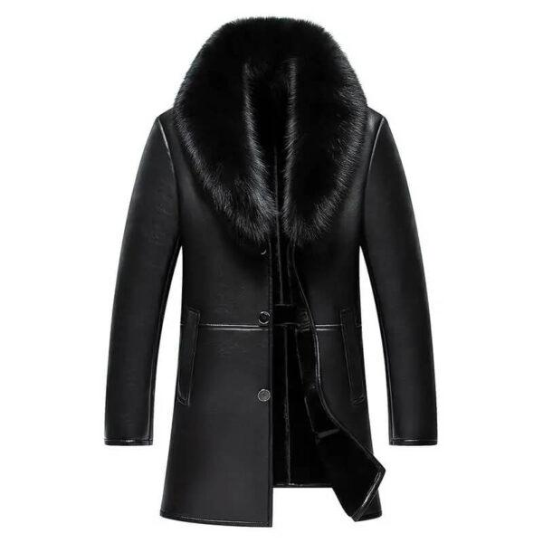 Men Winter Leather Coat Big Fur Collar Jacket