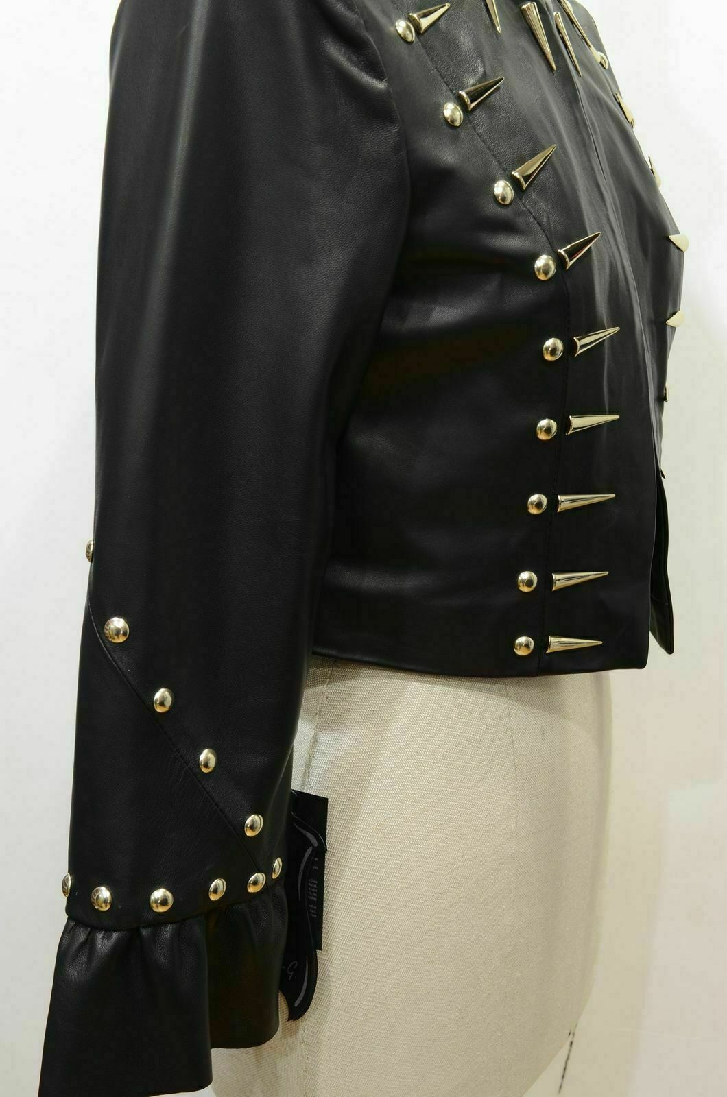 Woman Black Silver Long Spiked Studded Punk Rock Biker Leather Jacket Jackets Maker