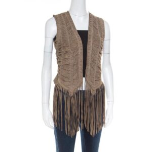 Women's Brown Suede Perforated Fringed Vest