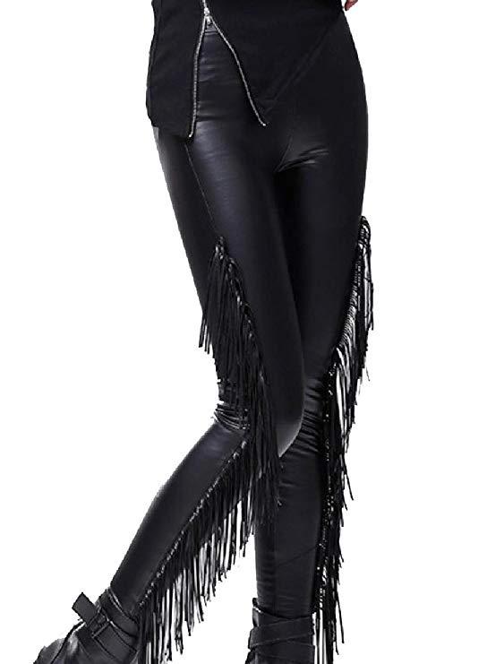 Women Flexible Buttery Soft Faux Leather Fringe Biker Pants