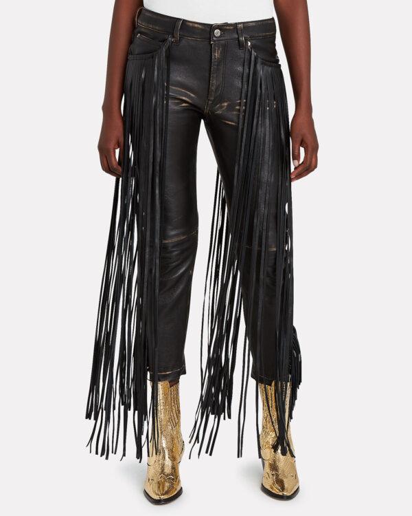 Women's Fringe Trimmed Leather Pant