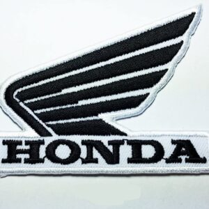 Black on White Honda Wing Patch Motorcycle Biker Patch Logo Vest Jacket Hat Hoodie Backpack Patch Iron On