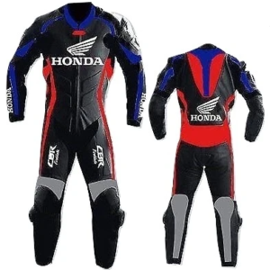HONDA MOTORCYCLE RED LEATHER RACING SUIT