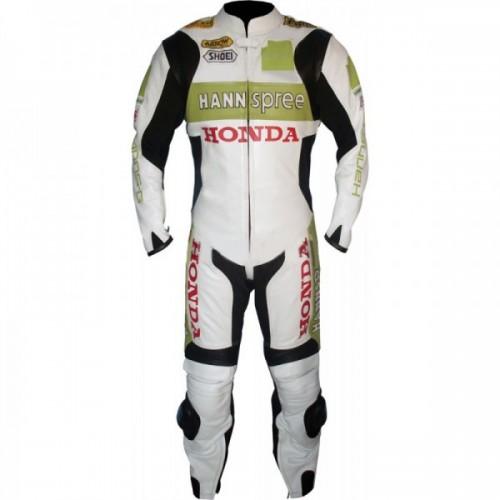 Honda Hannspre White And Green Biker Leather Jacket