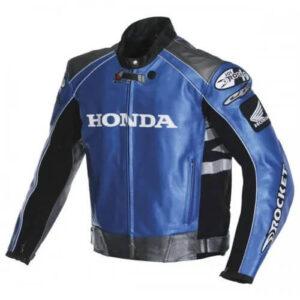 Honda Rocket Blue motorcycle Leather Jacket For Men