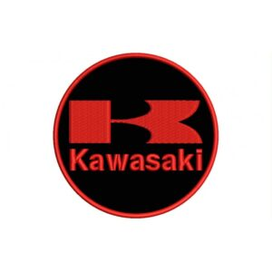 KAWASAKI Red And Black (Circle Logo) Embroidered Patch
