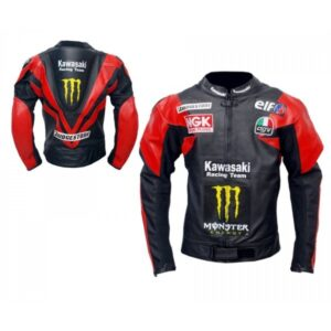 KAWASAKI MONSTER RED BLACK RACING MOTORCYCLE LEATHER JACKET WITH SAFETY PADS