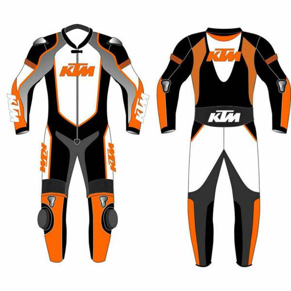 KTM Orange and Black Motorcycle Leather Suit