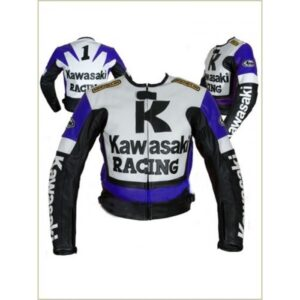 Kawasaki Racing Men Motorcycle Leather Jacket