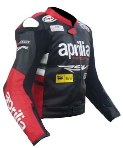 Max Biaggi Aprilia Motorcycle Leather Jacket