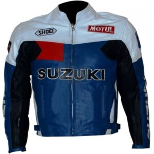 Men's Suzuki Blue And White Motorcycle Jacket
