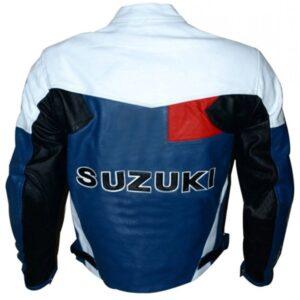 Men's Suzuki Blue And White Motorcycle Jacket