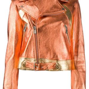 Metallic Orange & Gold-tone Leather