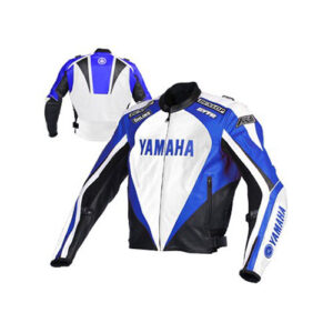 Yamaha Motorcycle black and Blue Racing Leather Jacket