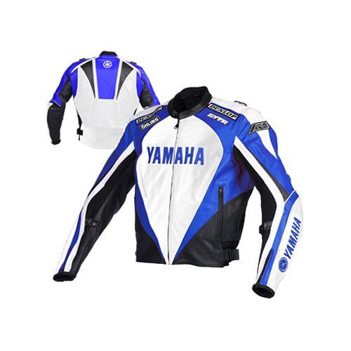 Yamaha Motorcycle black and Blue Racing Leather Jacket