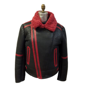 Aviator Red Black Shearling Leather Fur Jacket
