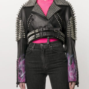 black-leather-look-studded-biker-jacket
