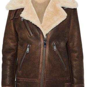 Brown Leather Trimmed Shearling Fur Biker Jacket
