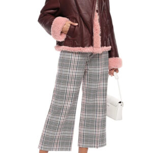 Burgundy Shearling Lined Leather Fur Jacket