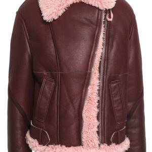 Burgundy Shearling Lined Leather Fur Jacket