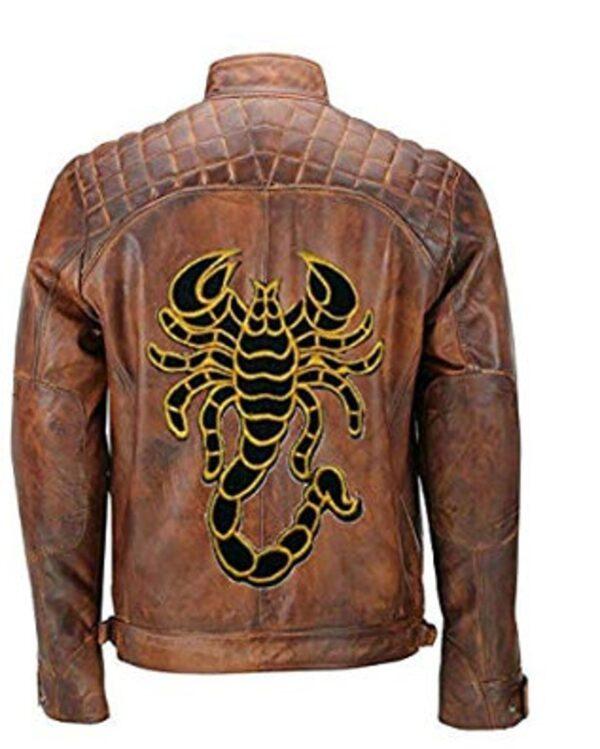 cafe-racer-brown-scorpion-biker-leather-jacket