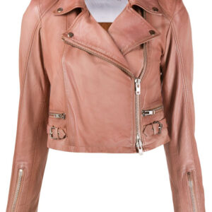 flame-rose-pink-leather-cropped-off-centre-zip-jacket