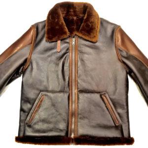 Two Tone Biker Shearling Fur Jacket