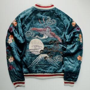 reversible-vintage-japanese-japan-script-cherry-blossoms-sakura-fujisan-crane-tattoo-art-geisa-maiko-oiran-courtesan-kanzashi-tsuru-turquoise-fujisan-embroidery-embroidered-bomber-sukajan-souvenir-jac