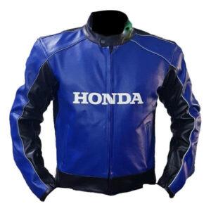Honda Blue and Black Racing Motorcycle Leather Jacket