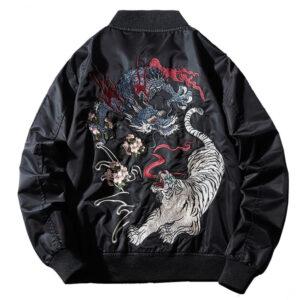 black-bomber-jacket-dragon-embroidery-tiger-autumn-outwear